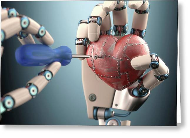 Robotic Hand Fixing Heart Greeting Card by Ktsdesign