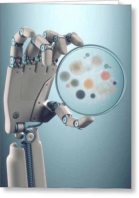 Robotic Hand Holding A Petri Dish Greeting Card by Ktsdesign