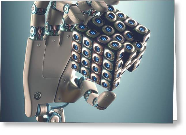 Robotic Hand Holding Cube Greeting Card by Ktsdesign