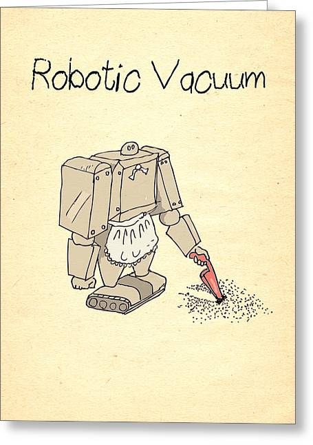 Cartoony Greeting Cards - Robotic Vacuum Cleaner Comic Greeting Card by