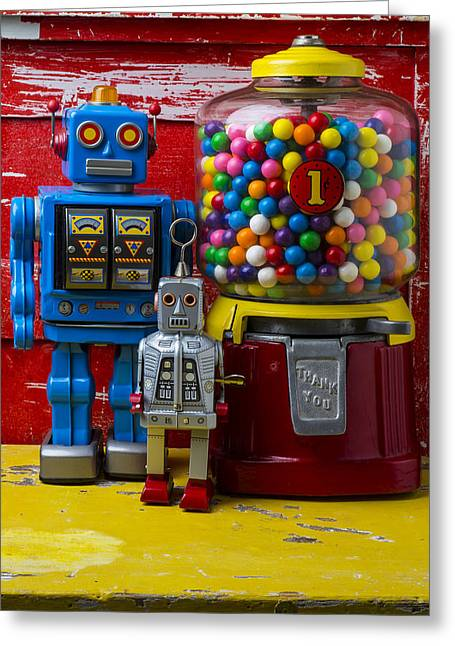Robotic Life Greeting Cards - Robots and bubblegum machine Greeting Card by Garry Gay