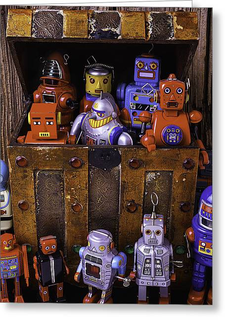 Lids Greeting Cards - Robots In Treasure Box Greeting Card by Garry Gay