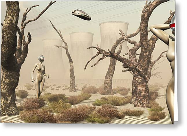 Hands Behind Head Greeting Cards - Robots Walking About A Landscape Greeting Card by Mark Stevenson