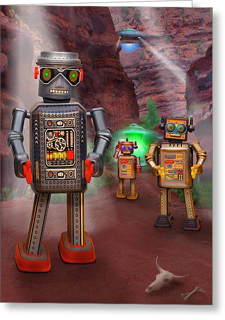 Imaginative Art Greeting Cards - Robots With Attitudes 2 Greeting Card by Mike McGlothlen