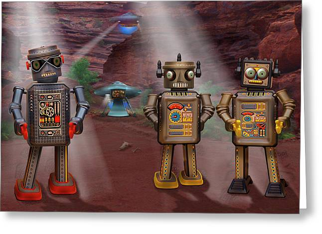 Spacecraft Greeting Cards - Robots With Attitudes  Greeting Card by Mike McGlothlen