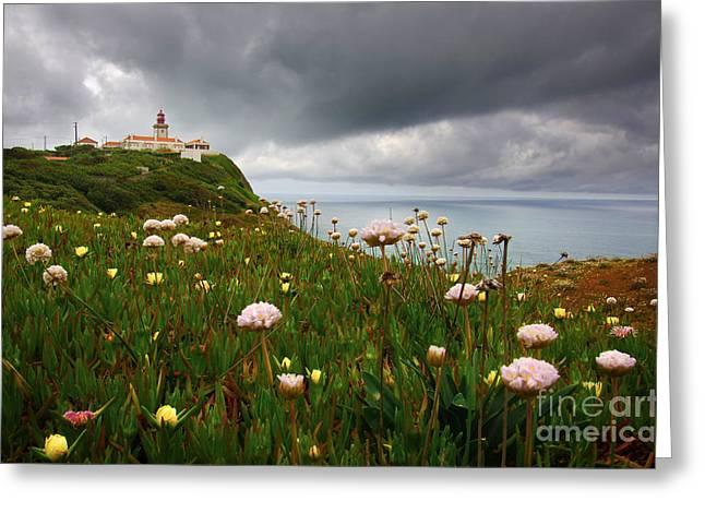 Roca Lighthouse Greeting Card by Carlos Caetano