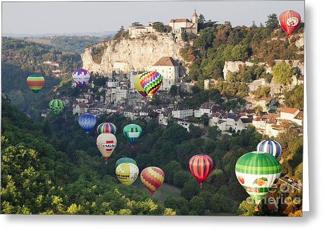 Midi Greeting Cards - Rocamadour Midi-Pyrenees France Hot Air Balloons Greeting Card by Colin and Linda McKie