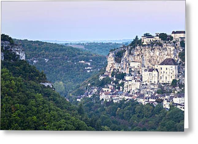 Midi Greeting Cards - Rocamadour Midi Pyrenees France Panorama Greeting Card by Colin and Linda McKie