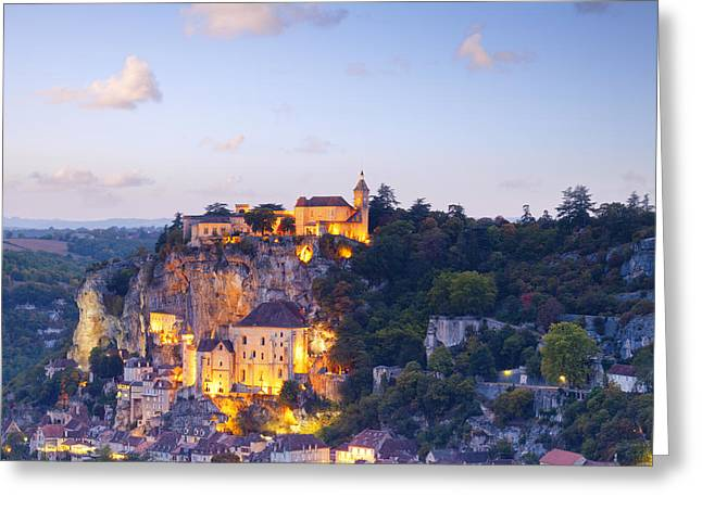 Midi Greeting Cards - Rocamadour Midi-Pyrenees France Twilight Greeting Card by Colin and Linda McKie