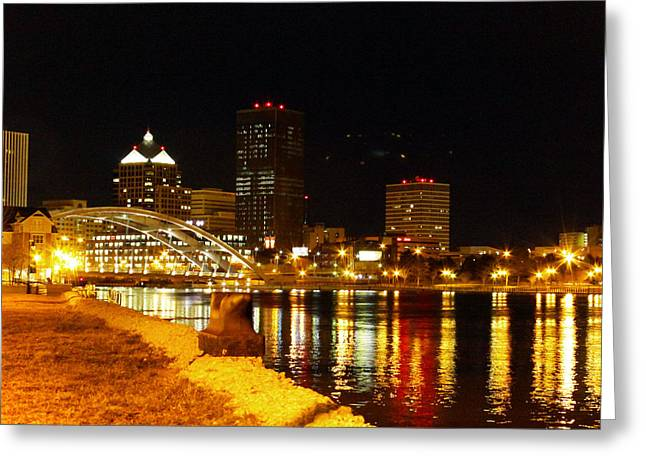 Xerox Greeting Cards - Rochester at Night Greeting Card by Tim Buisman