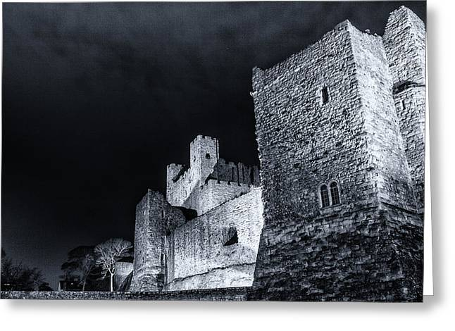 Rochester Greeting Cards - Rochester castle at Night Greeting Card by Ian Hufton