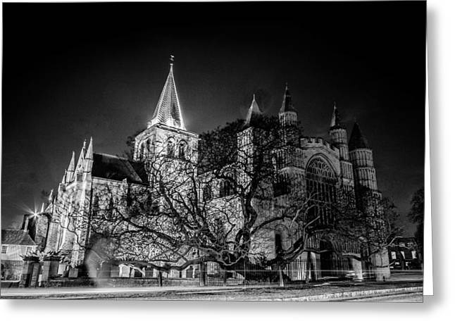 Rochester Greeting Cards - Rochester cathedral at night Greeting Card by Ian Hufton