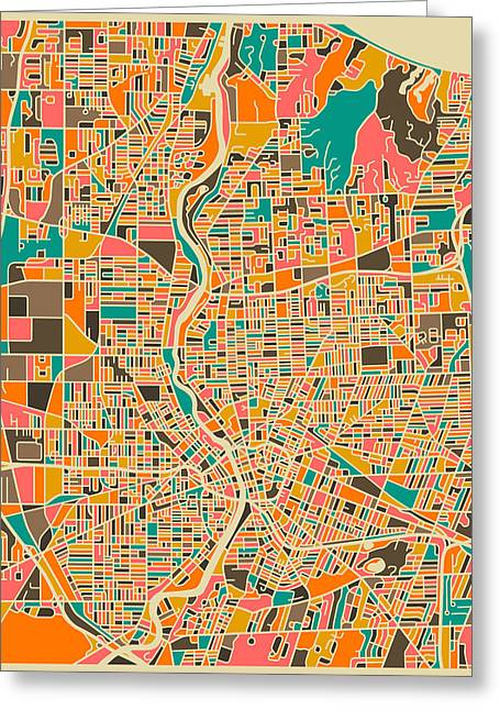 Rochester Greeting Cards - Rochester Map Greeting Card by Jazzberry Blue