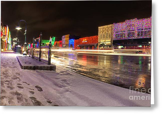 Rochester Michigan Christmas Light Display Greeting Card by Twenty Two North Photography