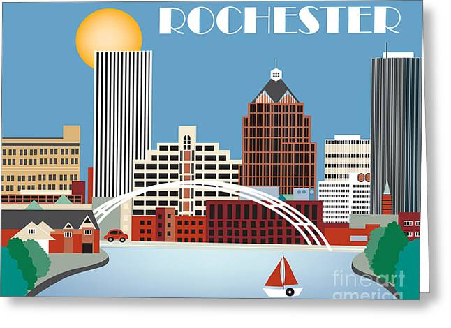 Rochester Skyline Greeting Cards - Rochester New York Skyline Greeting Card by Karen Young