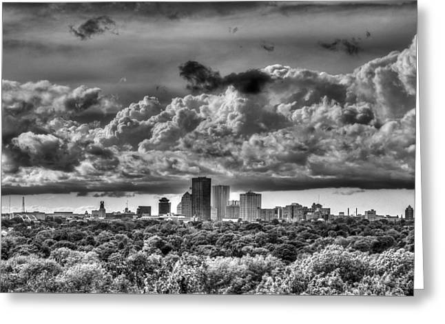 Cobb Greeting Cards - Rochester NY Skyline in black and white Greeting Card by Tim Buisman