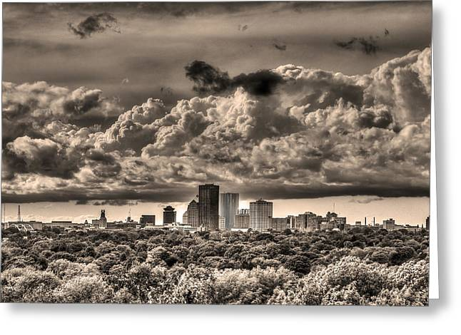 Rochester Greeting Cards - Rochester NY Skyline in Sepia Greeting Card by Tim Buisman