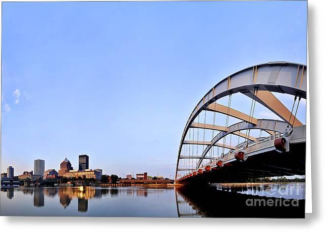 Frederick Douglass Greeting Cards - Rochester Skyline and Freddie-Sue Bridge Greeting Card by Bonita Fine Art