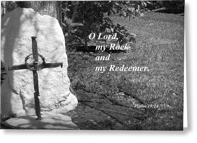 Sacrifice Mixed Media Greeting Cards - Rock and Redeemer Greeting Card by Ella Kaye Dickey