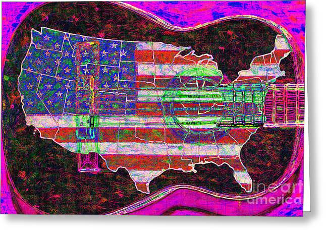 Rock and Roll America 20130123 Violet Greeting Card by Wingsdomain Art and Photography