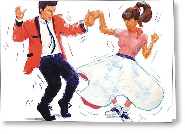 Boy With Teddy Greeting Cards - Rock and Roll Dancers Greeting Card by Mike Jory