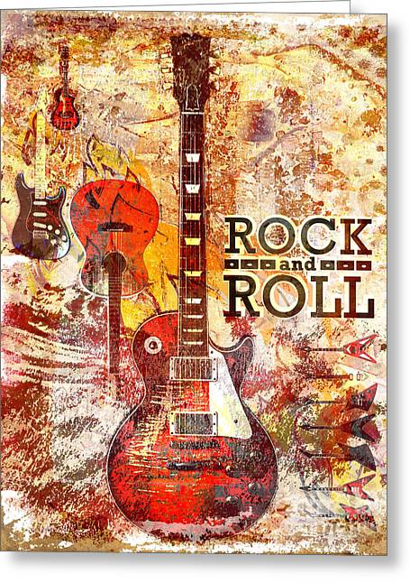 Rock N Roll Mixed Media Greeting Cards - Rock and Roll Guitar Art Greeting Card by Ryan RockChromatic
