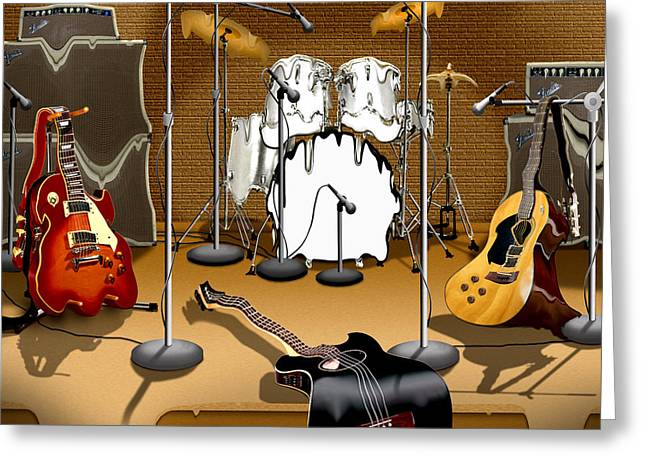 Microphone Stand Greeting Cards - Rock and Roll Meltdown Greeting Card by Mike McGlothlen