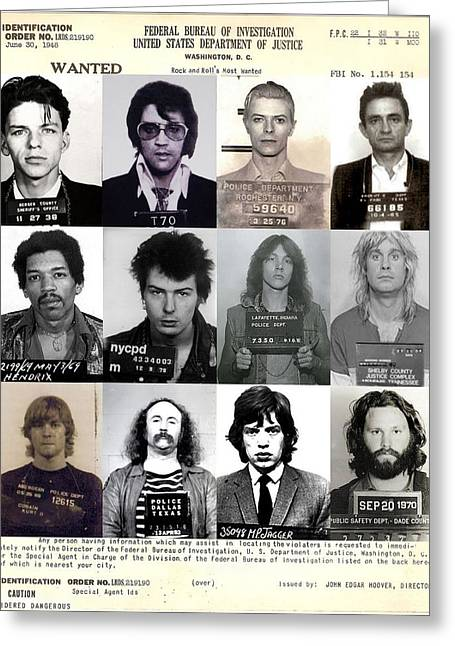 Rock N Roll Photographs Greeting Cards - Rock and Rolls Most Wanted - Part II Greeting Card by Lee Dos Santos