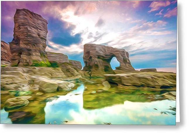 Rock And Sea Greeting Card by Lanjee Chee