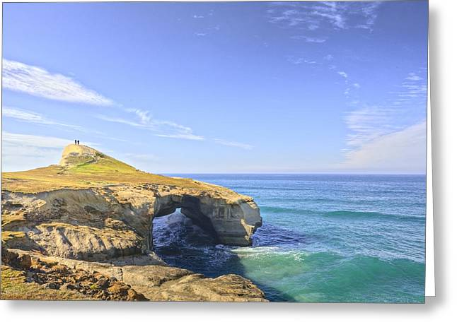 Dunedin Greeting Cards - Rock Arch at Tunnel Beach Dunedin New Zealand Greeting Card by Colin and Linda McKie