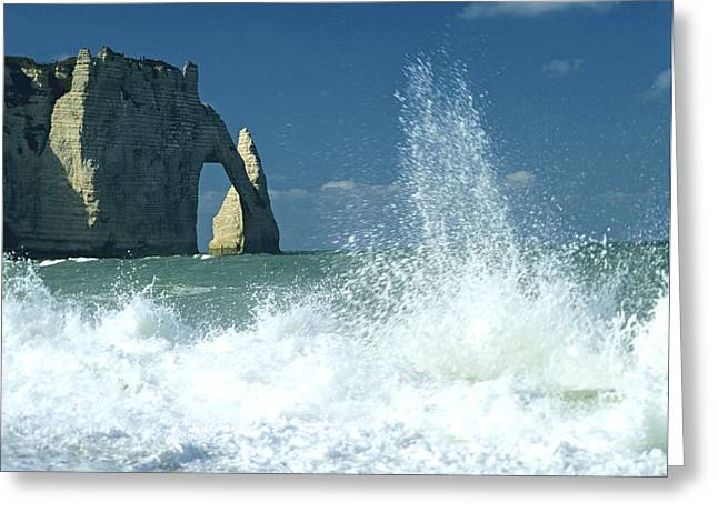 Seacoast Greeting Cards - Rock arch. Etretat. Seine-Maritime. Normandy. France. Europe Greeting Card by Bernard Jaubert