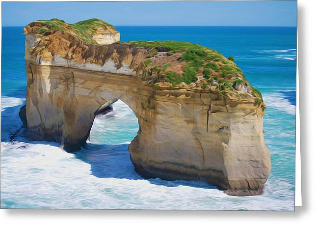 Grass Greeting Cards - Rock arches at the sea shore Greeting Card by Lanjee Chee