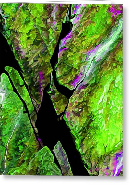 Rock Art 17 In Green Greeting Card by Bill Caldwell -        ABeautifulSky Photography
