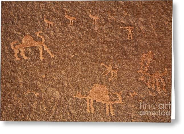 Jordan Photographs Greeting Cards - Rock art at Wadi Rum in Jordan Greeting Card by Robert Preston