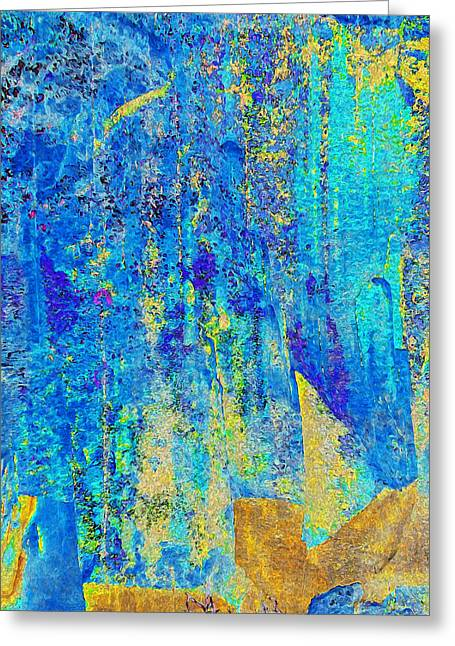 Abstract Digital Digital Greeting Cards - Rock Art Blue and Gold Greeting Card by Stephanie Grant