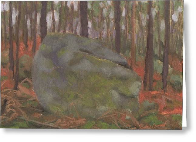 Paysage A L Greeting Cards - Rock at dusk - rocher a crepuscule Greeting Card by David Ormond