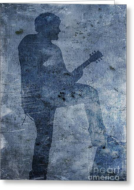 Live Music Greeting Cards - Rock Band Guitarist Greeting Card by Randy Steele