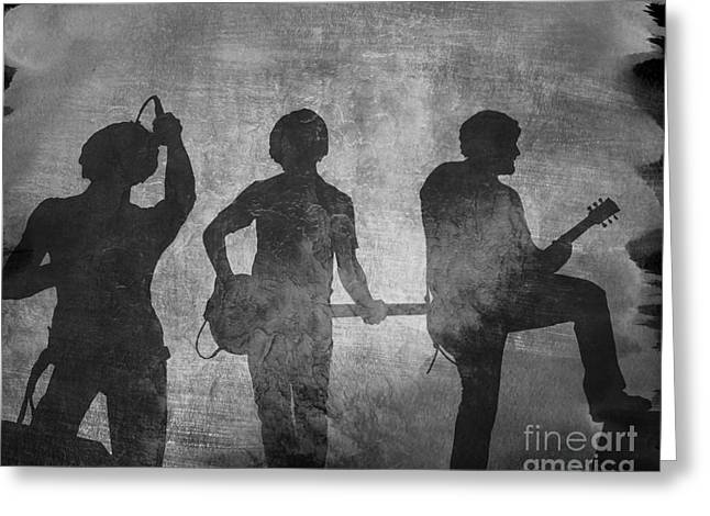 Live Music Greeting Cards - Rock Band Shadows Greeting Card by Randy Steele