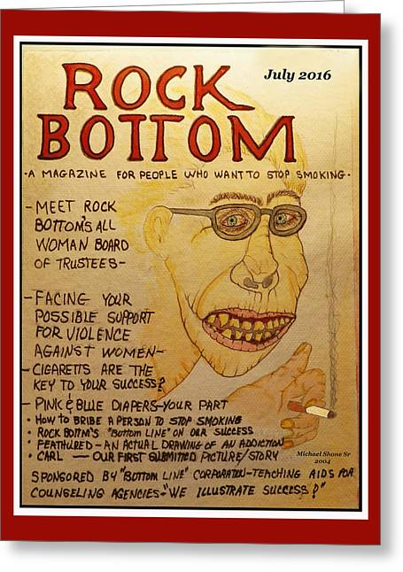 Rock Bottom Drug And Alcohol Poster Greeting Card by Michael Shone SR