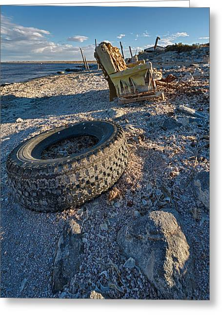 Ruins Greeting Cards - Rock bounces off tire rock breaks chair Greeting Card by Scott Campbell