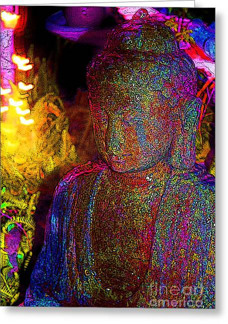 Enlightened Path Greeting Cards - Rock Buddha Greeting Card by Keri West
