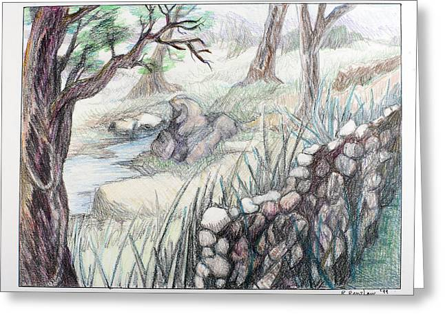 Lanscape Drawings Greeting Cards - Rock by the Stream Greeting Card by Ruth Renshaw