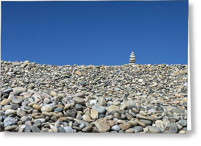 Rock Cairn On Stonewall Beach Greeting Card by John Greim
