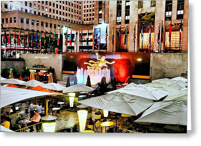Al Fresco Greeting Cards - Rock Center Summer Greeting Card by Diana Angstadt