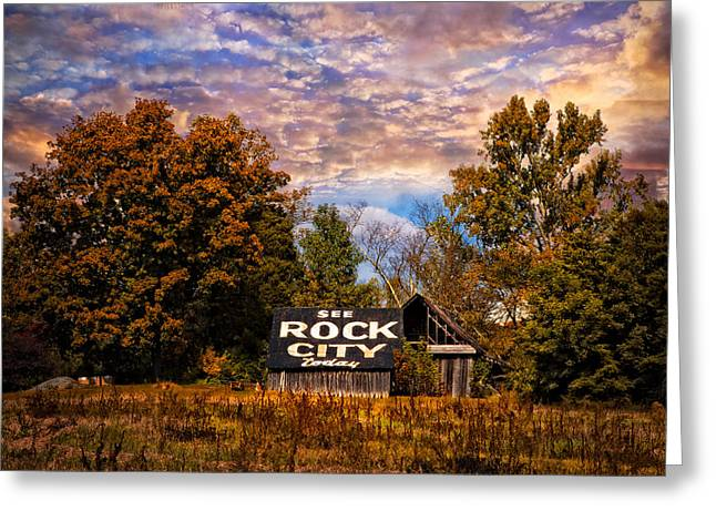 Rock City Barn Greeting Card by Debra and Dave Vanderlaan