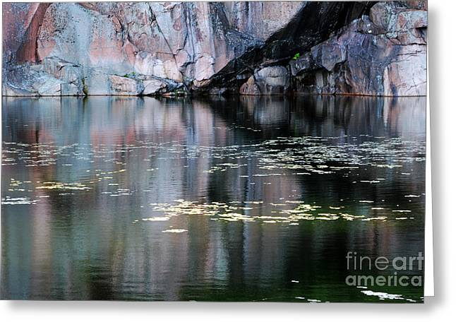 Granite Bedrock Greeting Cards - Rock Cliff and Reflections Greeting Card by Charline Xia