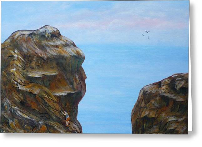 Rock Climb Greeting Card by Monika Shepherdson