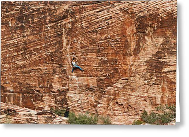Red Rock Canyon Greeting Cards - Rock Climber Climbing A Rock, Red Rock Greeting Card by Panoramic Images