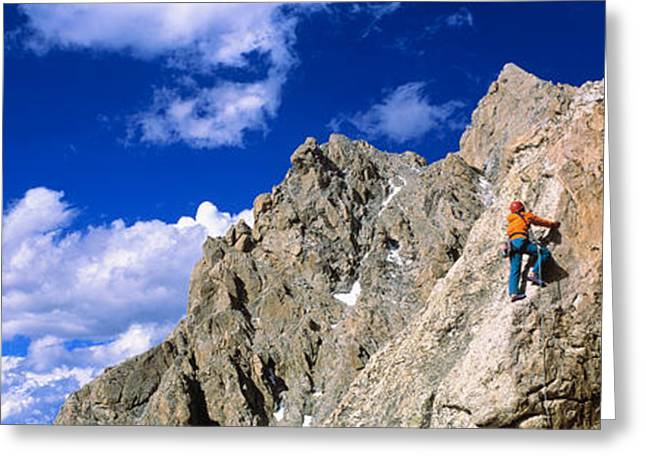 Descend Greeting Cards - Rock Climber Grand Teton National Park Greeting Card by Panoramic Images