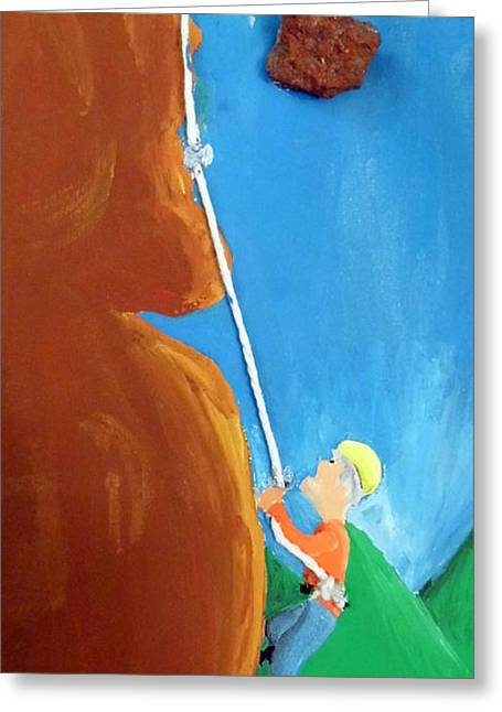 Men Shoes Greeting Cards - Rock Climber Greeting Card by Jera Sky